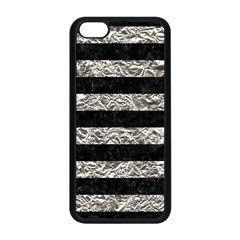 Stripes2 Black Marble & Silver Foil Apple Iphone 5c Seamless Case (black) by trendistuff