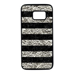 Stripes2 Black Marble & Silver Foil Samsung Galaxy S7 Black Seamless Case