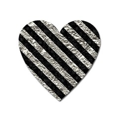 Stripes3 Black Marble & Silver Foil Heart Magnet by trendistuff