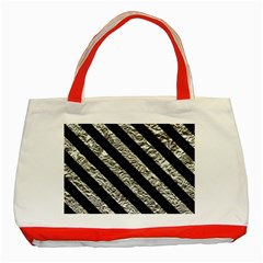 Stripes3 Black Marble & Silver Foil Classic Tote Bag (red) by trendistuff
