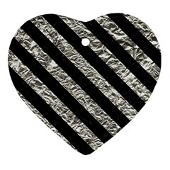 Stripes3 Black Marble & Silver Foil Heart Ornament (two Sides) by trendistuff
