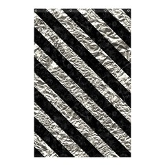Stripes3 Black Marble & Silver Foil Shower Curtain 48  X 72  (small)
