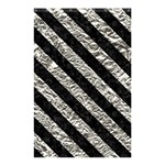 STRIPES3 BLACK MARBLE & SILVER FOIL Shower Curtain 48  x 72  (Small)  42.18 x64.8 Curtain