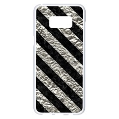 Stripes3 Black Marble & Silver Foil Samsung Galaxy S8 Plus White Seamless Case by trendistuff