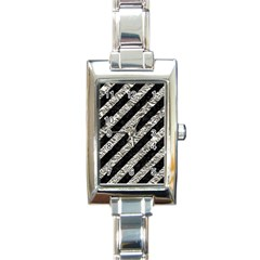Stripes3 Black Marble & Silver Foil (r) Rectangle Italian Charm Watch by trendistuff