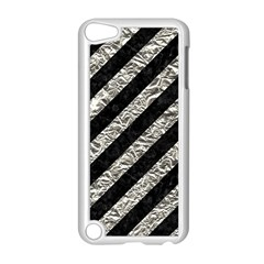 Stripes3 Black Marble & Silver Foil (r) Apple Ipod Touch 5 Case (white) by trendistuff