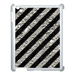 STRIPES3 BLACK MARBLE & SILVER FOIL (R) Apple iPad 3/4 Case (White) Front