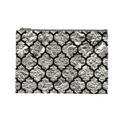 Tile1 Black Marble & Silver Foil Cosmetic Bag (large)  by trendistuff