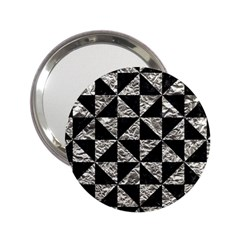 Triangle1 Black Marble & Silver Foil 2 25  Handbag Mirrors by trendistuff