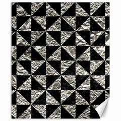Triangle1 Black Marble & Silver Foil Canvas 8  X 10  by trendistuff