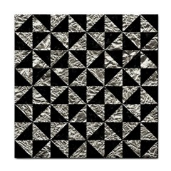 Triangle1 Black Marble & Silver Foil Face Towel by trendistuff