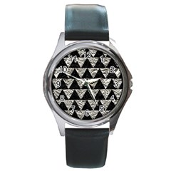 Triangle2 Black Marble & Silver Foil Round Metal Watch by trendistuff