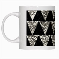 Triangle2 Black Marble & Silver Foil White Mugs by trendistuff