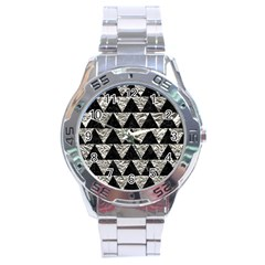 Triangle2 Black Marble & Silver Foil Stainless Steel Analogue Watch by trendistuff