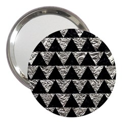 Triangle2 Black Marble & Silver Foil 3  Handbag Mirrors by trendistuff