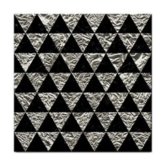 Triangle3 Black Marble & Silver Foil Tile Coasters by trendistuff