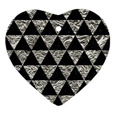 Triangle3 Black Marble & Silver Foil Ornament (heart) by trendistuff
