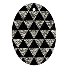Triangle3 Black Marble & Silver Foil Oval Ornament (two Sides)