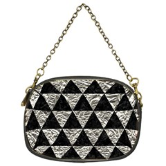 Triangle3 Black Marble & Silver Foil Chain Purses (one Side)  by trendistuff