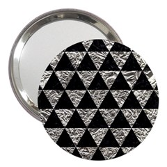 Triangle3 Black Marble & Silver Foil 3  Handbag Mirrors by trendistuff
