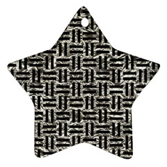 Woven1 Black Marble & Silver Foil Ornament (star) by trendistuff