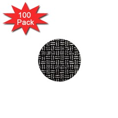 Woven1 Black Marble & Silver Foil (r) 1  Mini Magnets (100 Pack)  by trendistuff