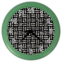 Woven1 Black Marble & Silver Foil (r) Color Wall Clocks by trendistuff