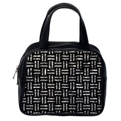 Woven1 Black Marble & Silver Foil (r) Classic Handbags (one Side) by trendistuff