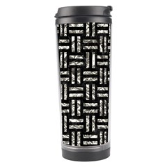 Woven1 Black Marble & Silver Foil (r) Travel Tumbler by trendistuff