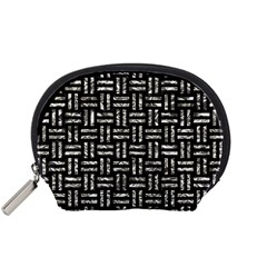 Woven1 Black Marble & Silver Foil (r) Accessory Pouches (small)  by trendistuff