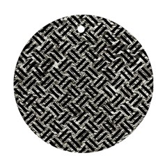 Woven2 Black Marble & Silver Foil Ornament (round) by trendistuff
