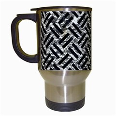 Woven2 Black Marble & Silver Foil Travel Mugs (white) by trendistuff