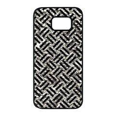Woven2 Black Marble & Silver Foil Samsung Galaxy S7 Edge Black Seamless Case by trendistuff