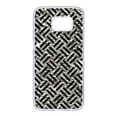 Woven2 Black Marble & Silver Foil Samsung Galaxy S7 Edge White Seamless Case by trendistuff