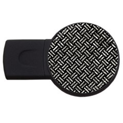 Woven2 Black Marble & Silver Foil (r) Usb Flash Drive Round (4 Gb) by trendistuff
