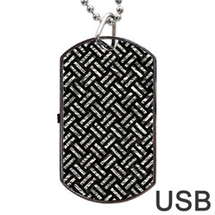 Woven2 Black Marble & Silver Foil (r) Dog Tag Usb Flash (one Side) by trendistuff