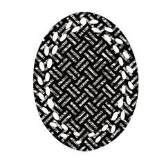 Woven2 Black Marble & Silver Foil (r) Oval Filigree Ornament (two Sides) by trendistuff