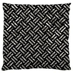 Woven2 Black Marble & Silver Foil (r) Standard Flano Cushion Case (two Sides) by trendistuff