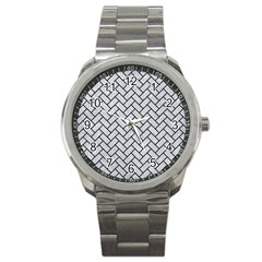 Brick2 Black Marble & Silver Glitter Sport Metal Watch by trendistuff