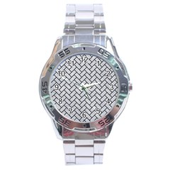 Brick2 Black Marble & Silver Glitter Stainless Steel Analogue Watch by trendistuff