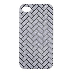 Brick2 Black Marble & Silver Glitter Apple Iphone 4/4s Hardshell Case by trendistuff