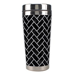 Brick2 Black Marble & Silver Glitter (r) Stainless Steel Travel Tumblers by trendistuff