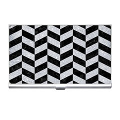 Chevron1 Black Marble & Silver Glitter Business Card Holders by trendistuff