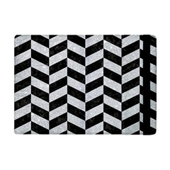Chevron1 Black Marble & Silver Glitter Apple Ipad Mini Flip Case by trendistuff