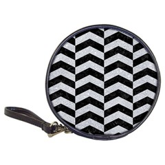 Chevron2 Black Marble & Silver Glitter Classic 20 Cd Wallets by trendistuff