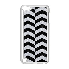 Chevron2 Black Marble & Silver Glitter Apple Ipod Touch 5 Case (white) by trendistuff