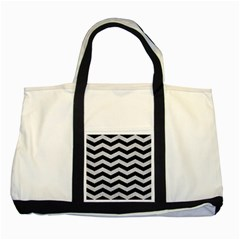 Chevron3 Black Marble & Silver Glitter Two Tone Tote Bag by trendistuff