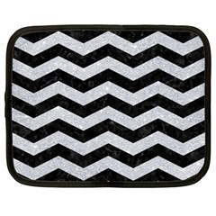 Chevron3 Black Marble & Silver Glitter Netbook Case (large) by trendistuff