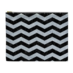 Chevron3 Black Marble & Silver Glitter Cosmetic Bag (xl) by trendistuff