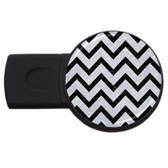 Chevron9 Black Marble & Silver Glitter Usb Flash Drive Round (2 Gb) by trendistuff